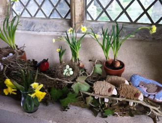 This is a photo of Peggy's lovely Easter display in the church porch